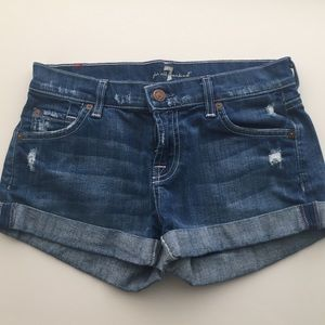 7 For All Mankind Distressed Jean Shorts Size 25